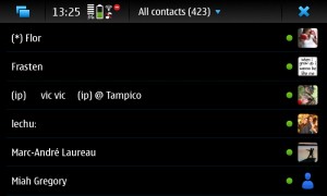 Some msn-pecan contacts in the all contacts view